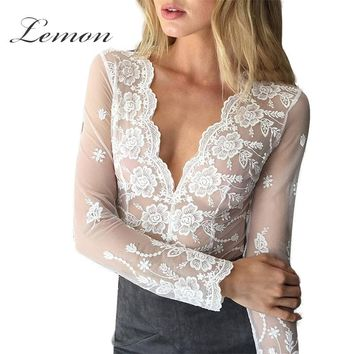 Lemon Lace Women Solid White Lace Blouse Transparent Sheer Mesh Embroidery V-Neck Cut Out Trim Crochet Sexy Plunge Neck Shirt