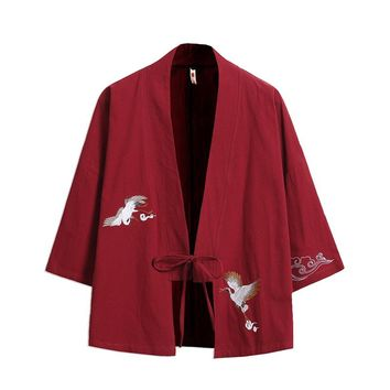Sinicism Store Mens Trench Coat Jacket Chinese Style Kimono Windbreaker Red Jacket Cardigan Hrajuku Male Clothes 2018 Plus Size
