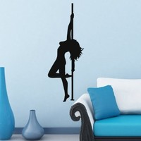 Housewares Vinyl Decal Striptease Girl Dancer Woman Dance on the Pole Fashion People Stripper Night Club Home Wall Art Decor Removable Stylish Sticker Mural Unique Design for Any Room