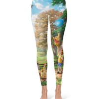 Winnie The Pooh Disney Painting Tigger Eeyore Piglet - Leggings in XS-3XL -  Lycra Full Print Footless Tights 000627