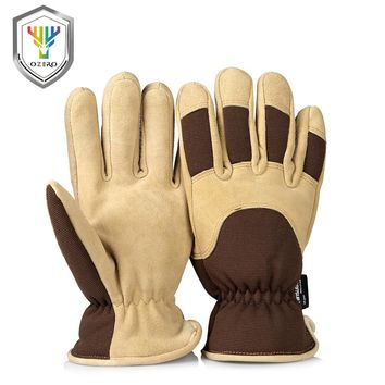 OZERO Work Gloves With Deerskin Suede Leather Shell and Thermal Fleece Lining Inserted Warm in Cold Weather Work For Men 8015