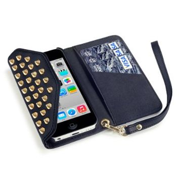 iPhone 5C Trendy Studded Rock Chic Purse Style Wallet Case - Black By Covert