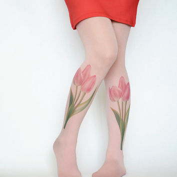 Poppies Flowers Tights,Poppy Tattoo Tights Pantyhose,Green Pink Print Tattoo Tights,Handmade Pantyhose