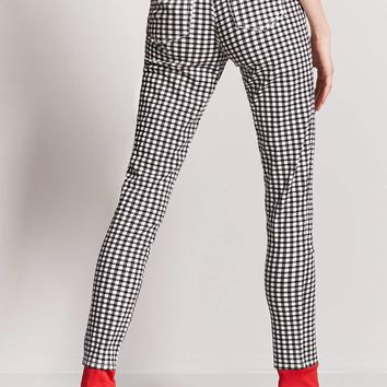 Plaid High-Waist Pants
