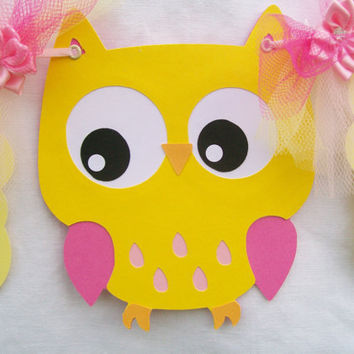 Yellow owl baby shower banner, its a girl, yellow and pink - READY TO SHIP