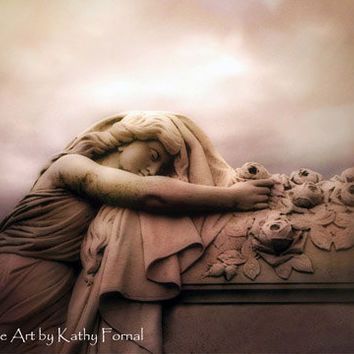 "Angel Photography, Ethereal Female Figure Angel Art, Cemetery Gothic Art, Angel Art Female Gravestone, Fine Art Photo 8"" x 12"""