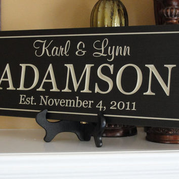 Engraved Personalized Family name signs by michaelswoodworks