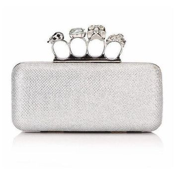 Skull handbags  Day Clutch Knuckle Finger Rings Evening Bags