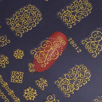 1 Sheet 3D Nail Stickers Gold Silver Stamping Flower Pattern Decals Decor Manicure Nail Art Sticker Decorations TB012