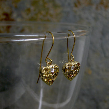 Gold Heart Earrings,Gift FOR HER,Heart jewelry ,Valentines day Gift