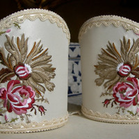Pair of Clip-On Shield Shades Floral Embroidered Silk Taffeta Rubelli Fabric Mini Lampshade Handmade in Italy