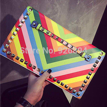 2016 HOT brand rainbow striped candy color fashion rivet chain clutch evening bag casual shoulder bag purse handbags wallet