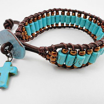 Turquoise beaded leather wrap bracelet - leather cuff - cross bracelet - chan luu style wrap - boho chic - hippie unisex leather bracelet