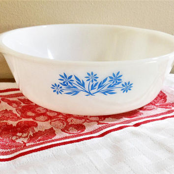 Anchor Hocking Fire King Blue Cornflower 1 Quart  Baking Dish