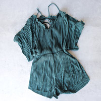 pleated peek a boo shoulder romper in teal