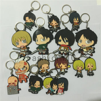 Llaveros Key Chain Japanese Comic silicone Attack on Titan Eren Rival Armin keychain anime figure PVC keyring accessories