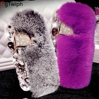 Luxury Bling Diamong Fox Head Phone Case For iPhone X XSmax XR Case 3D Rabbit Fur Cover For iPhone 7 8 6S 6S Plus 5 s Back Cover