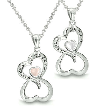 "Infinity Hearts ""Linked Forever"" Love Couple Yin Yang White Light Pink Cats Eye Pendant Necklaces"