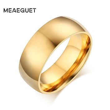 Meaeguet Classic Gold-color Ring Stainless Steel Cool Simple Band Engagement Rings For Women Men USA Size 5-13
