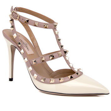 Valentino Ivory Patent Leather Rockstud Pump