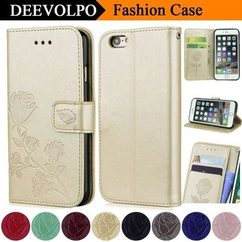 DEEVOLPO Rose Retro Back Case For Apple iPhone 8 7 6 6S Plus 5 5S SE PU Leather Stand Floral Wallet Cover Bags Fundas Capa DP76