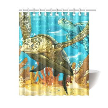 Sea Turtles Polyester Shower Curtain 60x72 inch