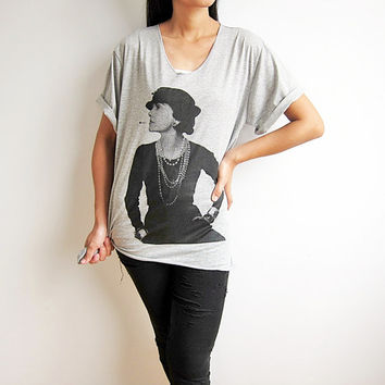 Coco Chanel T Shirt French Fashion Designer Gray V Neck Women TShirt Size S M