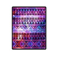 Galaxy Aztec Pattern Fleece Throw, Soft Blanket - 40 x 50 Inches Large