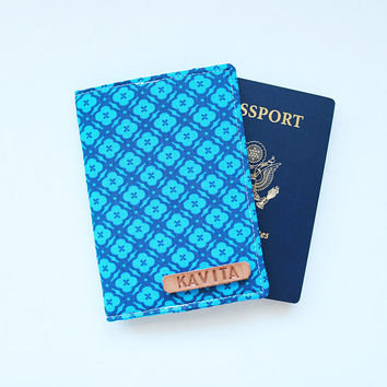 Employee Gift Personalized passport holder, Sky Blue Passport Holder, Passport wallet for Coworker - SKPC26