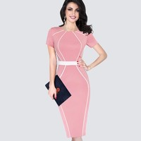 Summer Elegant Slim Tunic Colorblock Contrast Patchwork Ladies Dresses Women Casual Work Office Business Bodycon Dress HB389