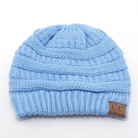 Pale blue Solid Color CC Beanie