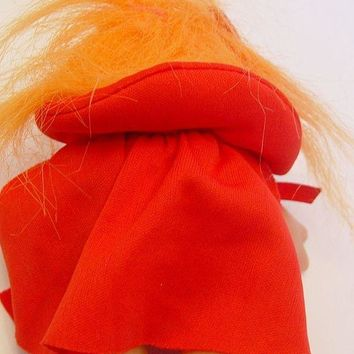 ONETOW My Lucky Little Devil Girl Troll Orange Hair Troll Doll 4.5' Tall