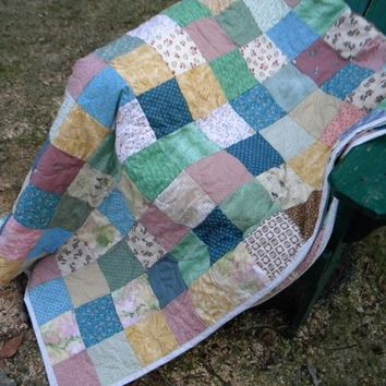 Cooler Neutrals Patchwork quilt--TWIN size--63X94