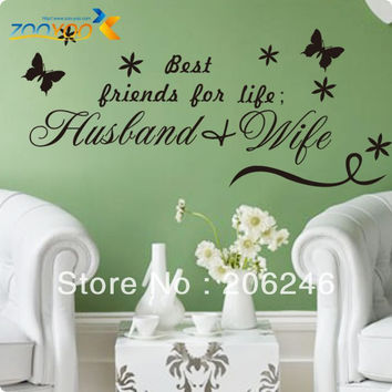 "Characters ""Best Friend Of Life Is Husband & Wife"" Vinyl Wall Decals Art Sticker Removable Waterproof original size 50*45 cm SM6"