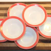 Set of Six Vintage Pyrex Dessert Bowls Flamingo Pink