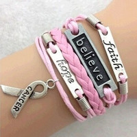 2014 Fashion Jewelry Love,faith,believe and Breast Cancer Awareness Charm Bracelet = 1645645636