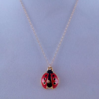 Tiny Red Ladybug Necklace- Little Red Beetle- 14k Gold Filled chain