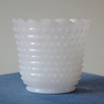 Vintage Hobnail Milk Glass Vase- Fire King Oven Ware- Deep Dish Bowl- Scalloped Rim