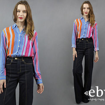 Silk Blouse Rainbow Blouse Striped Blouse Longsleeve Blouse Ralph Lauren Blouse Candy Striped Blouse 90s Blouse 1990s Blouse Silk Shirt M L
