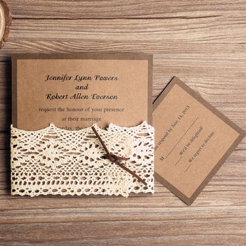 Elegant Lace Wedding Invitation Suite - Kraft Wedding Invitation Rustic EWLS012