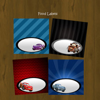 Disney CARS 2 Lightning Mc Queen Food Labels (Tent fold) - INSTANT DOWNLOAD