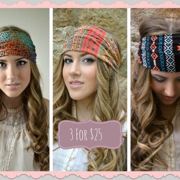 Teal Navajo Boho Head Wrap, Aztec hippie Head Band