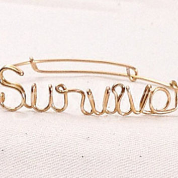 Custom Wire Survivor Bracelet (MADE TO ORDER) Strength, Faith, Hope, Love, Cancer, Brave, Gold Bracelet, Silver Bracelet, Copper Bracelet,