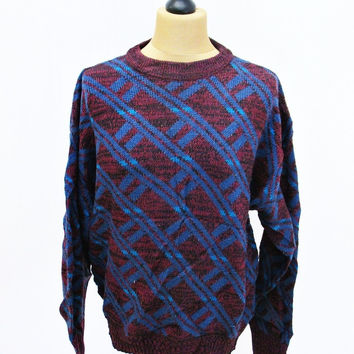 Vintage 1990s GALAXY POWER Sweater Jumper XL Psychedelic Crazy Pattern