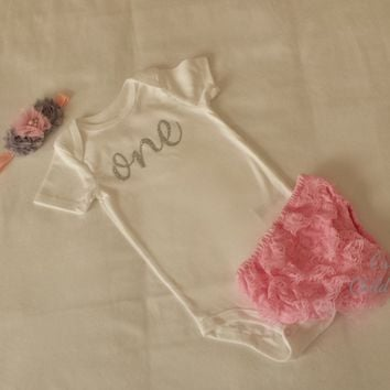 Baby Girl Baby Girl 1st Birthday Outfit Cake Smash Photography Props Silver One Bodysuit Pink Bloomers Pink and Grey Headband Set
