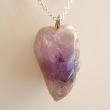 Polished Amethyst Pendant Necklace 18K GP Chain Gemstone Jewelry