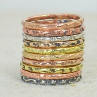 Bohemian Stars and Stripes Stacking Rings- B6