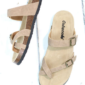 Toe Strap Bork Slide On Sandals Leather Look {Taupe}