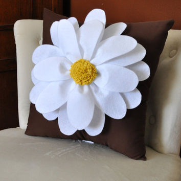 Daisy Felt Flower on Brown Pillow Cover NEW BEDBUGGS by bedbuggs