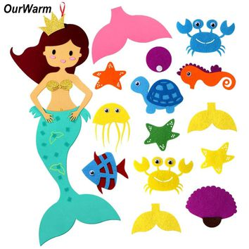 OurWarm Mermaid Party Supplies DIY Felt Hanging Wall Decorative for Kids Room Under Sea Theme Birthday Mermaid Party Decorations